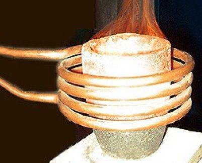 ساده ترین نمای کوره القایی: سیم پیچ مسی آب گرد + بوته ذوب